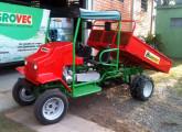 Carreta agrícola Agrovec equipada com rodado duplo traseiro, toldo e caçamba basculante.