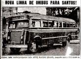 Carroceria sobre chassi Ford em propaganda da empresa Auto Rápido Brasil, de fevereiro de 1948, anunciando a inauguração de nova linha entre São Paulo e Santos.