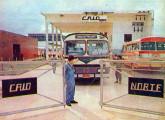 Fábrica Caio Norte em 1972; preparando-se para sair, se vê um Jaraguá com motor traseiro.
