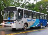 Mercedes-Benz OF com carroceria Apache Vip fornecido para a empresa Joana D'arc, de Colatina (ES); a imagem foi tomada na rodovia BR-393 quando o ônibus estava sendo conduzido da fábrica Caio para a empresa (foto: Reginaldo Alves / onibusbrasil).