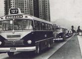 Em 1965 a companhia estadual do Rio de Janeiro CTC renovou parte da frota com carrocerias Bossa Nova simplificadas; a foto capta o desfile dos 50 novos ônibus, com um Caio seguido de um Bons Amigos, também simplificado.