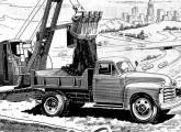 Caminhão Chevrolet montado no Brasil, equipado de fábrica com caçamba basculante, em publicidade de 1952.