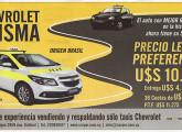"""Publicidade em jornal uruguaio, de fevereiro de 2016, anunciando o Chevrolet Prisma como """"sucessor"""" do sedã Corsa, tradicional no serviço de táxis de Montevidéu."""