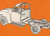 Modelo 3112, a versão da picape própria para transformação, com chassi nu e meia-cabine.