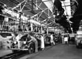 Linha de montagem de São Caetano do Sul em 1939; em linha, automóveis Chevrolet Master sedã de quatro portas (fonte: site carrosantigos).