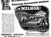 Publicidade de 1938; o desenho em perfil mostra um ônibus Chevrolet COE.
