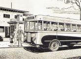 Em propaganda de 1949 o primeiro ônibus Chevrolet nacional com carroceria metálica e cabine avançada.