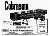 Grupo industrial diversificado, a primeira incursão da Cobrasma no setor rodoviário se deu na década de 50, com a fabricação de reboques para caminhão; o anúncio é de 1953 (fonte: Jorge A. Ferreira Jr.).