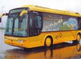 Protótipo do midi urbano Eletra, de 2002, desenvolvido com a Marcopolo para a cidade de Porto Alegre; o moderno ônibus não chegou a ser colocado em produção.