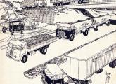 Em 1960 a FNM disponibilizava três tipos de cabine e seis de chassi para seus caminhões, como mostra esta ilustração de uma propaganda da época; note as cabines Metro (primeiro plano e fundo, à esquerda) e Brasinca (meio e alto, à direita).