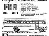 Peça publicitária de 1957, da revendedora A Veloz, anunciando chassis FNM; a imagem mostra uma carroceria Caio.