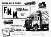 """O primeiro caminhão FNM-Alfa Romeo em anúncio de jornal de junho de 1953; note, à esquerda, um Caio """"Fita Azul"""" encarroçando um chassi FNM (fonte: Jorge A. Ferreira Jr.)."""