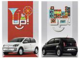 Cartões postais de divulgação do up!, automóvel radicalmente novo lançado pela VW em 2014; as imagens mostram as versões white up! e black up!.