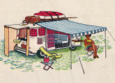 """Veículo """"de 1001 utilidades"""", no início do movimento campista no Brasil a Kombi foi muito explorada como motor-home; o desenho é uma proposta do arquiteto Ricardo Menescal, criador do Camping Clube do Brasil (fonte: O Globo)."""