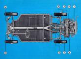Ao projetar os novos 1600 e Variant (na imagem) a Volkswagen utilizou o mesmo conceito de plataforma utilizado no Fusca; a ilustração, do Manual do Proprietário da Variant, indica os pontos de lubrificação do carro.